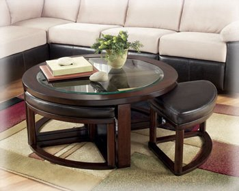 Solid Wood Glass Top Coffee Table With Stools Round Coffee Table With Seats Round Table With Chairs Underneath Ideas (View 8 of 10)
