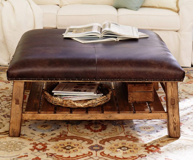 Square Modern Wood Coffee Table Reclaimed Metal Mid Century Round Natural Diy Contemporary Ottomans For Coffee Tables (View 8 of 10)