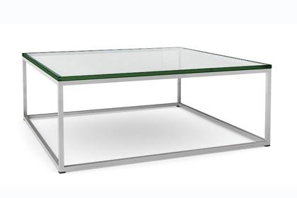 Square Glass Coffee Table Contemporary Barcelona Style Coffee Table Maker Unknown Chromed Metal Frame Supports 3 4 Square Glass Top (View 2 of 10)