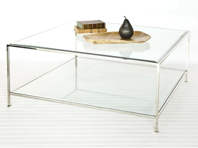 Square Glass Coffee Table Contemporary Caracole Classic Sociables 50 Inch Square Cocktail Table With Pierced Display Shelf And Clear (View 3 of 10)