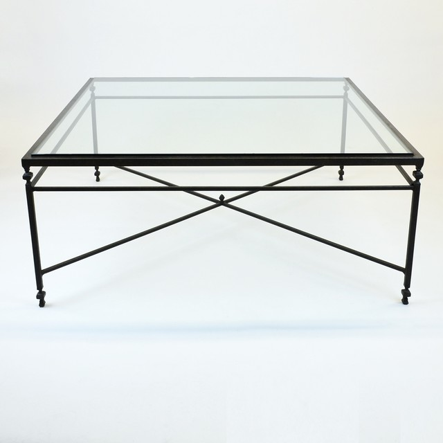 Square Glass Coffee Tables Huge Square Coffee Table With X Design Iron Base Glass Top Modern Coffee (Image 6 of 10)