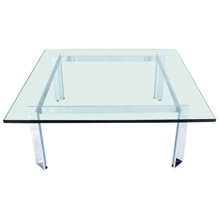 Square Glass Coffee Tables Square Mid Century Modern Chrome And Glass Coffee Table (Image 10 of 10)