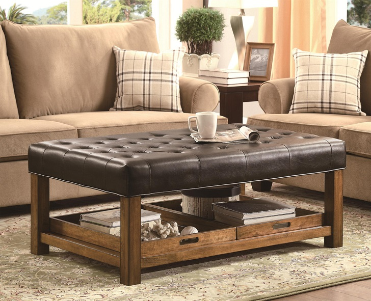 Square Leather Tufted Modern Wood Coffee Table Reclaimed Metal Mid Century Round Natural Diy Padded Ottomans As Coffee Tables (View 7 of 10)