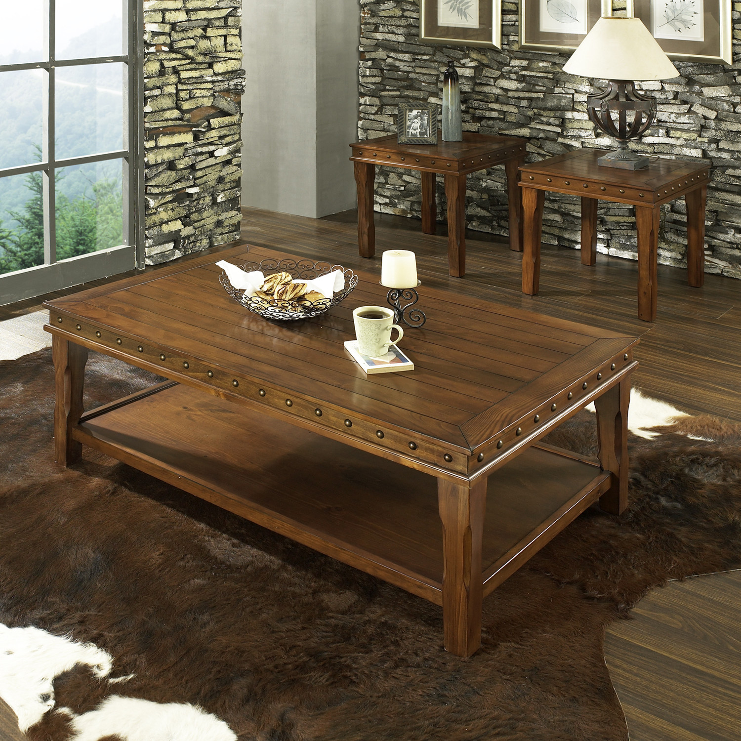 Square Shape Table From Wood Ideas Furnish Steve Silver Furniture Odessa 3 Piece Coffee Table Set (Image 6 of 10)