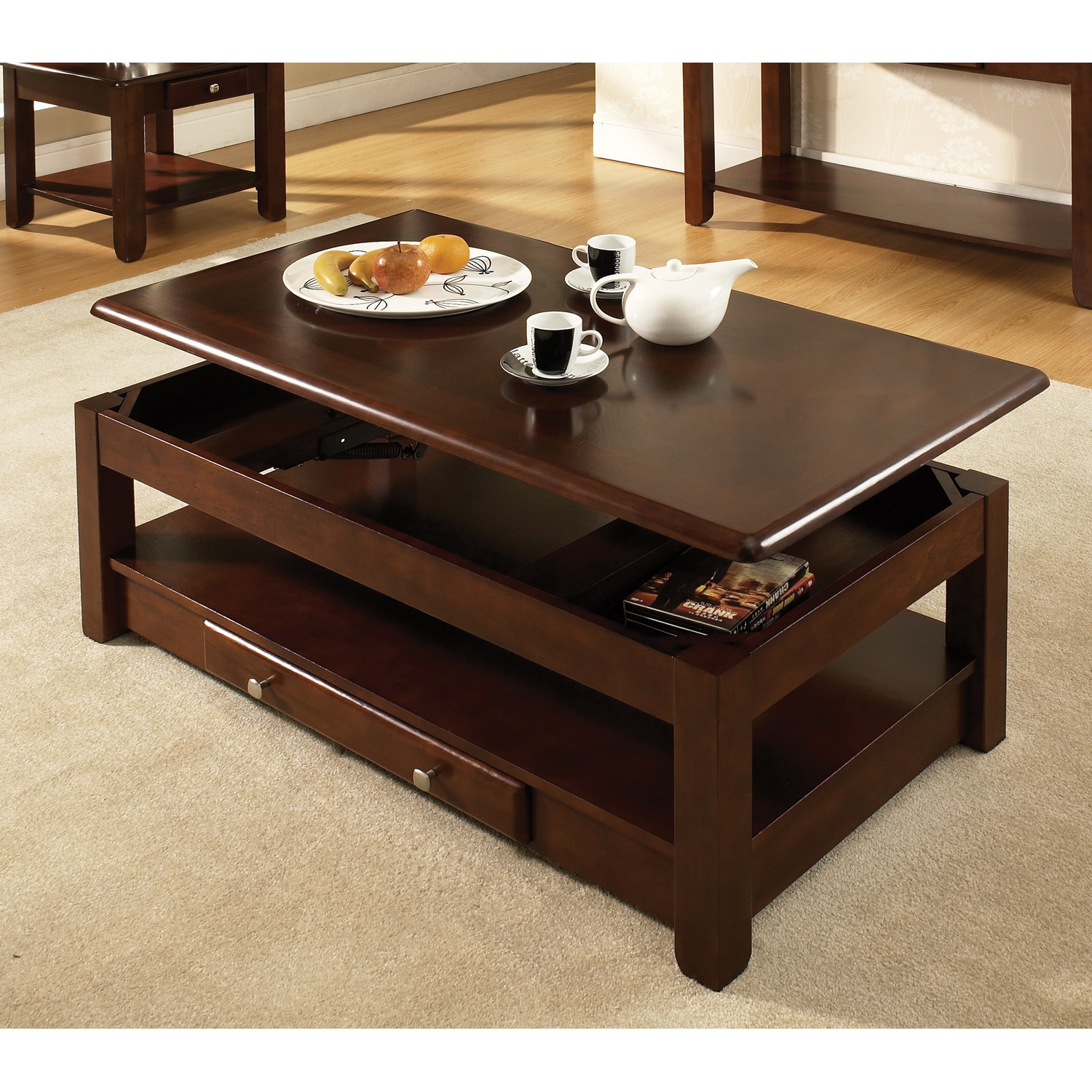 Square Shape Wood Dark Brown On Carpet With Grey Color Steve Silver Coffee Table Sets Nelson Lift Top Coffee Table (Image 7 of 10)
