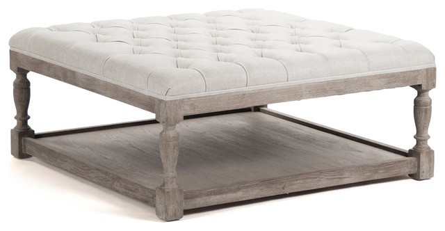 Square Tufted Linen Limed Gray Elm Coffee Table Ottoman Enjoy The Best Of Both Worlds Round Tufted Coffee Table (Image 9 of 10)