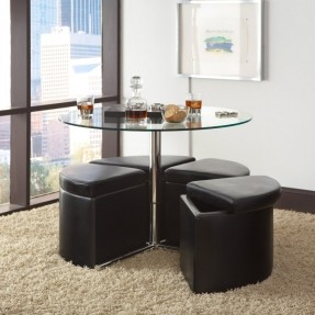 Standard Furniture Cosmo Adjustable Height Round Glass Top Coffee Table With 4 Storage Ottomans Round Coffee Table With Storage Ottomans (Image 9 of 10)