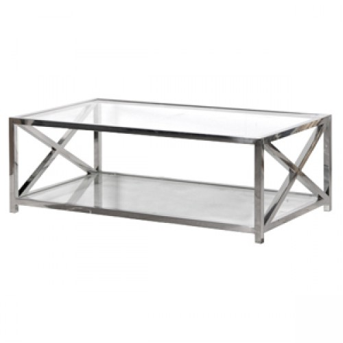 Superior Steel And Glass Coffee Table Decorative Center Stretcher