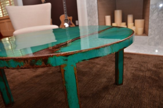 Steel Beat Up Table On Craigslist And Requested Immediate Delivery Round Painted Coffee Table Custom Round Metal Coffee Table Art With Beautiful (View 9 of 10)