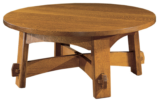 stickley-cocktail-table-round-mission-coffee-table-american-made-wood-coffee-tables-beautiful-round-design-with-a-classic-mission-trestle-base (Image 10 of 10)