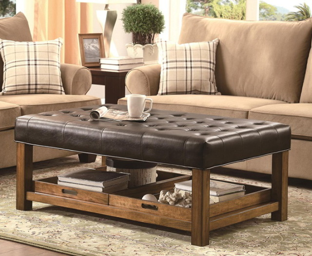 Storage Modern Wood Coffee Table Reclaimed Metal Mid Century Round Natural Diy Padded Large Ottoman Leather Ottoman Coffee Tables (View 9 of 10)