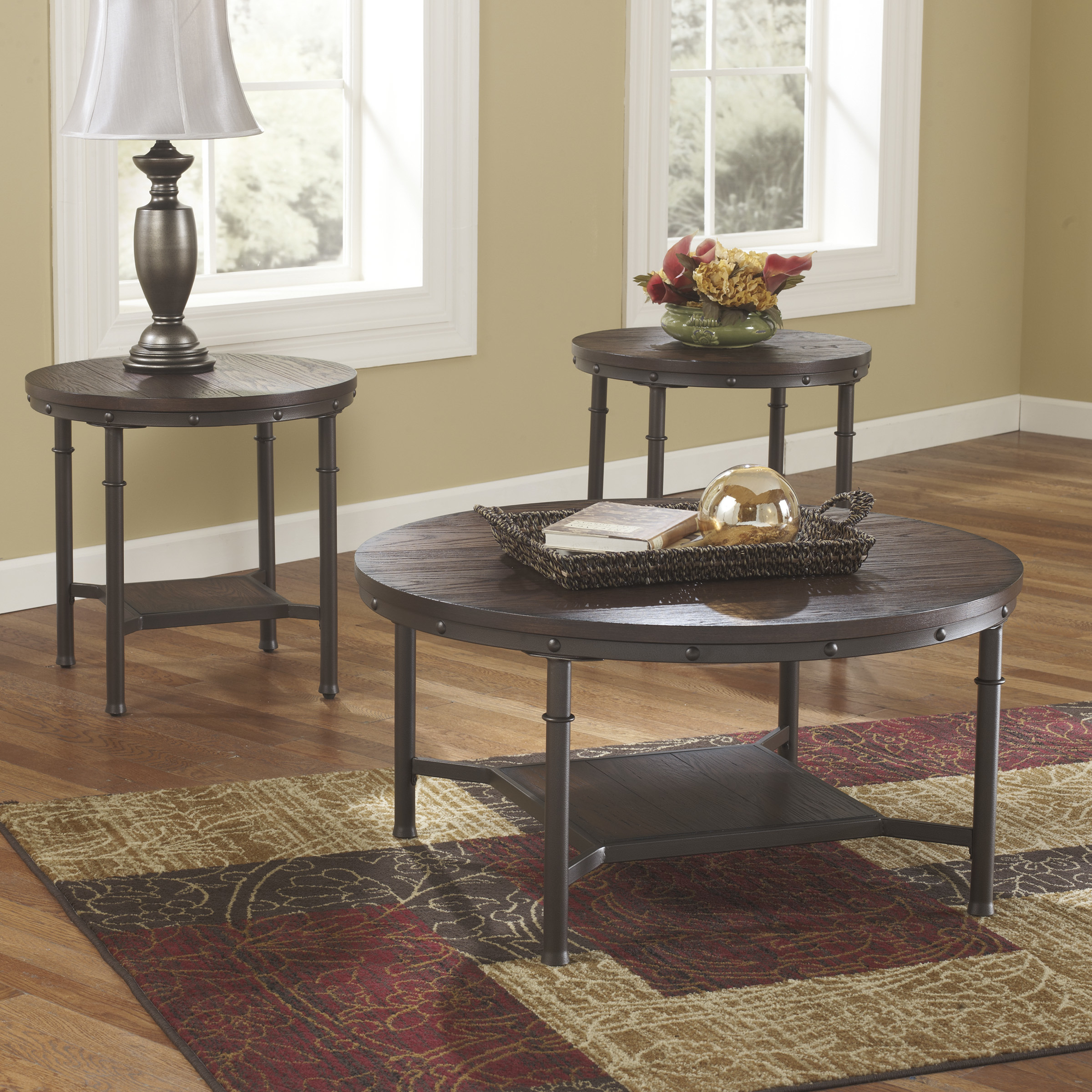 Susan 3 Piece Coffee Table Set Round Coffee Table Sets Round Glass Coffee Tables Furniture Side Tables For Living Room (Image 9 of 10)