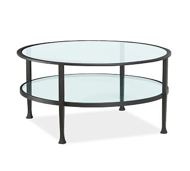 Tanner Metal And Glass Round Coffee Table Matte Iron Bronze Finish Coffee Tables With Iron Legs Round Glass And Metal Coffee Table (Image 8 of 10)