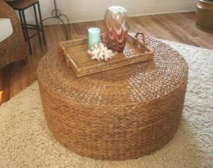 This Beautiful 36 Inch Round Seagrass Coffee Table Is Hand Woven In A Large Chucky Seagrass Round Coffee Table Furniture (Image 9 of 10)