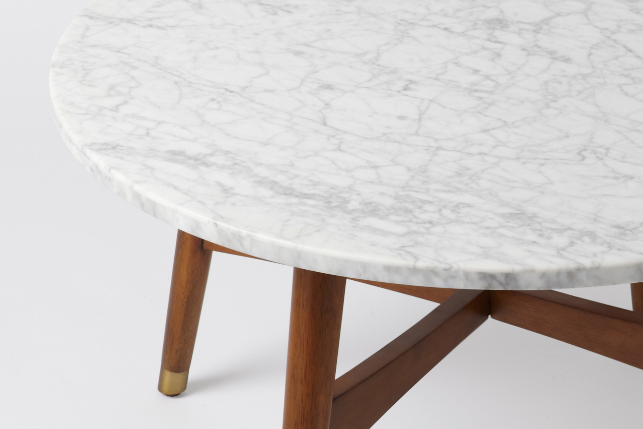 This Coffee Tables Tailored Lines Cross Base And Compact Footprint Make It A Simple Streamlined Fit In Modern Or Classic Offices Round Marble Coffee Tables (Image 10 of 10)