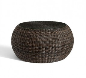 This Is A Very Original And Unique Piece Of Furniture It Is A Round Coffee Table Created For An Outdoor Use Dark Brown Rattan Round Coffee Table (Image 9 of 10)