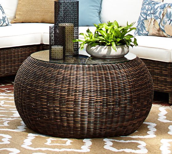 Torrey All Weather Wicker Round Coffee Table Natural Indoor And Outdoor (Image 7 of 8)