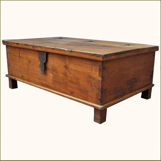 Traditional Coffee Tables Appalachian Rustic Teak Hinged Top Coffee Table Chest Traditional Coffee Tables (Image 9 of 10)