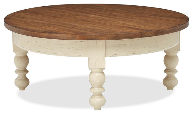traditional-coffee-tables-Newberry-Round-Coffee-Table-traditional-coffee-tables-dark-and-light-brown-color (Image 10 of 10)