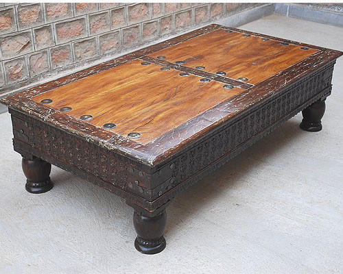 Traditional Coffee Tables Rustic Reclaimed Wood Carved Cocktail Sofa Rare Coffee Table Traditional (Image 9 of 9)