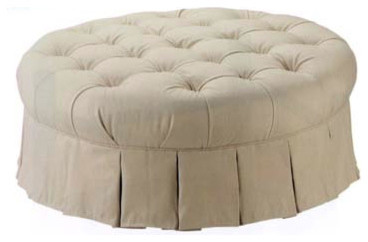 Traditional Footstools And Ottomans Round Tufted Ottoman Traditional Footstools And Ottomans Cream (Image 9 of 10)