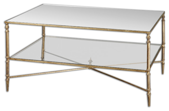 traditional-glass-coffee-table-the-clear-glass-top-along-with-the-magnificent-metal-construction-of-the-four-straight-legs-is-designed-to-provide-strength (Image 7 of 10)