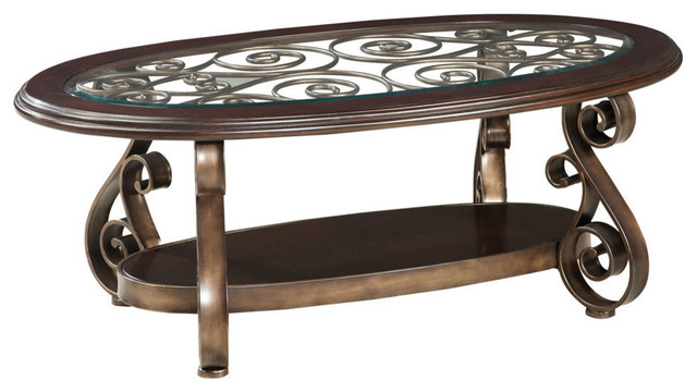 Traditional Glass Top Coffee Table Standard Furniture Bombay Oval Glass Top Cocktail Table Traditional Coffee Tables (View 8 of 10)