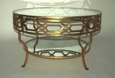 Treillage Round Gold Leaf Mirrored Coffee Table Gold Mirrored Coffee Table Round Cheap Mirrored Coffee Table (Image 10 of 10)