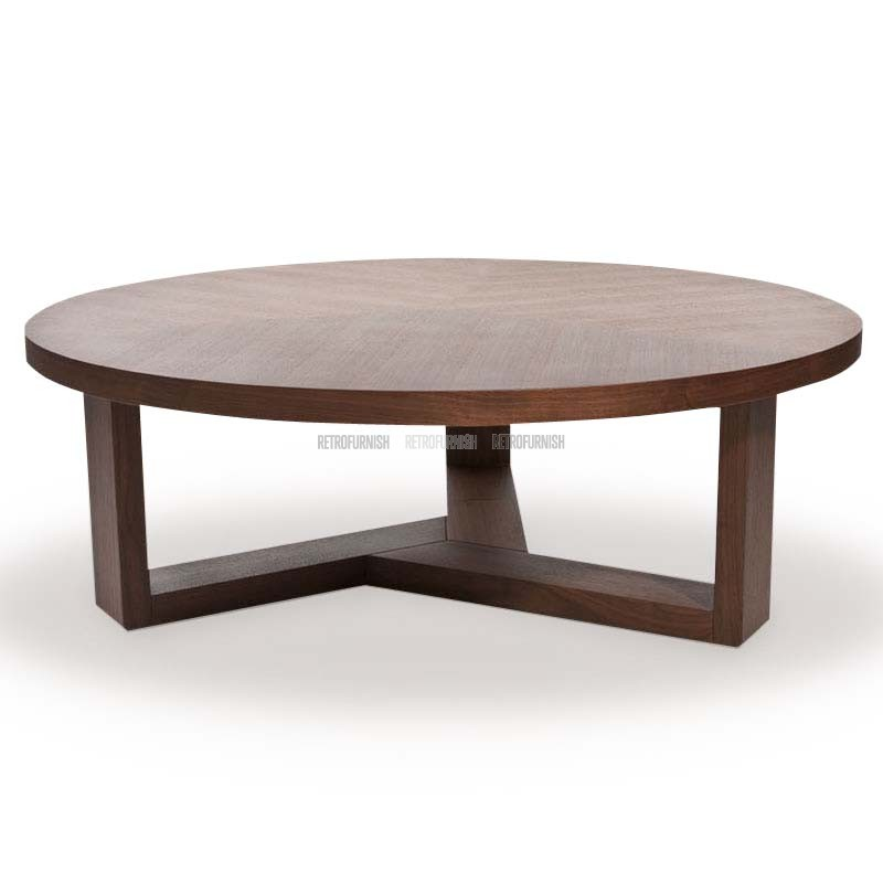 tripod-round-coffee-table-low-height-tripod-round-coffee-table-brown-laminated-wood-coffee-table (Image 10 of 10)