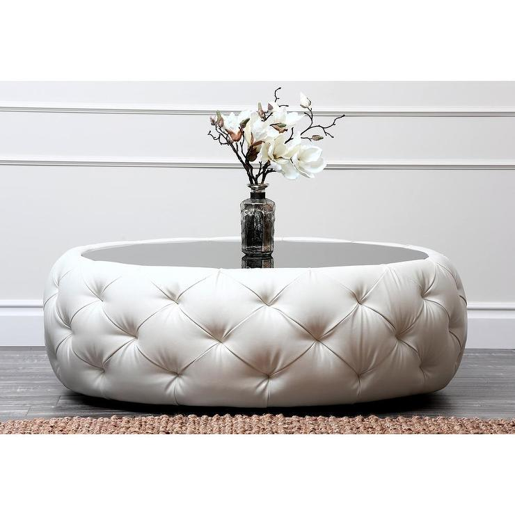 Tufted Ottoman Coffee Table Tufted Round Ottoman Coffee Table White Color Elegant Table For Decoration (Image 10 of 10)