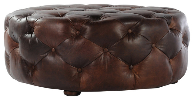 Tufted Round Leather Ottoman Large Traditional Footstools And Ottomans Round Leather Ottoman Coffee Table Furniture (View 9 of 10)