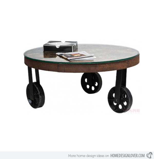 Unique Designs Of 15 Round Oak Coffee Table Salvaged Table Round Coffee Table With Wheels Coffee Table Wheels (Image 9 of 10)