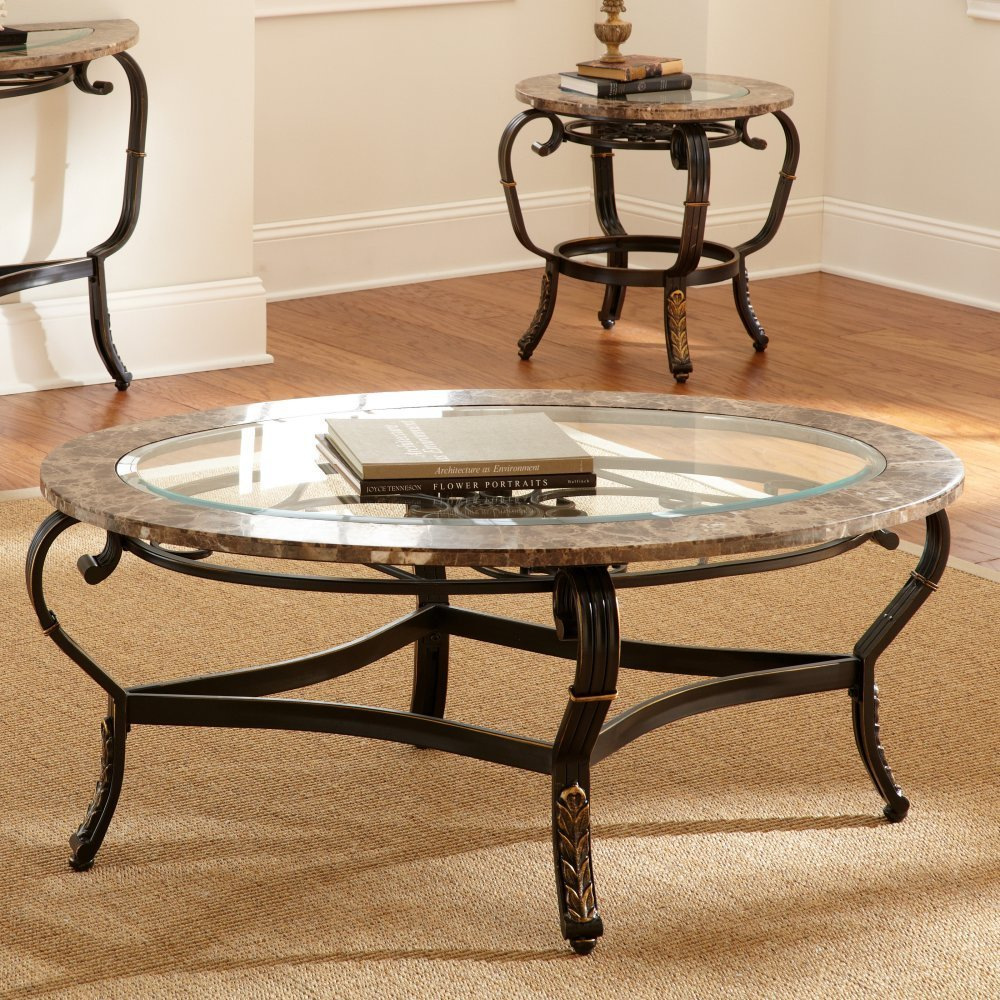 Unique Round Glass Top Coffee Table With Curved Metal Legs On Living Room Design Idea