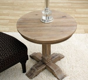 Unique Wooden Rustic Round Coffee End Table With Distressed Weathered Accent Finish Distressed Round Coffee Table (Image 10 of 10)