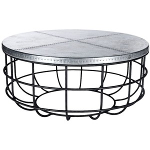 Universal Lighting And Decor Axel Round Iron And Hammered Zinc Coffee Table Hammered Coffee Tables Round Iron Coffee Table (Image 9 of 10)
