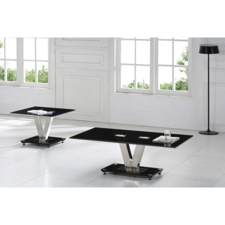 v-glass-set-coffee-side-table-black-V-Range-Black-Glass-Coffee-Table-2-sets-on-living-room (Image 10 of 10)