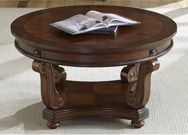 victorian-coffee-tables-liberty-victorian-dark-classic-cherry-round-cocktail-table-cherry-round-coffee-table (Image 9 of 10)