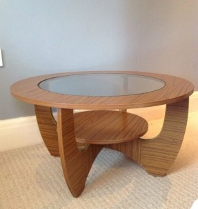 Vintage Formica Round Glass Coffee Table Retro Atomic Furniture Round Glass And Wood Coffee Table (View 10 of 10)