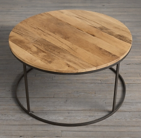 Watts Reclaimed Russian Oak Round Coffee Table Modern Minimalist Table Juxtaposes Steely Metal With The Warmth Of Reclaimed Wood Solid Wood Round Coffee Table Oak Round Coffee (View 10 of 10)