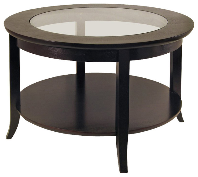 Winsome Winsome Genoa Round Wood Coffee Table With Glass Top In Dark Espresso Winsome Round Glass Top Coffee Table With Wood Base (Image 9 of 10)