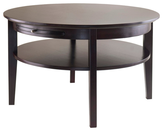winsome-wood-winsome-wood-amelia-round-coffee-table-with-pull-out-tray-in-dark-round-dark-wood-coffee-table (Image 9 of 10)