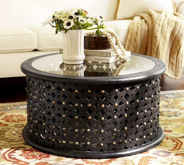 With Glass On Top On Top Round Black Round Trunk Coffee Table (Image 10 of 10)