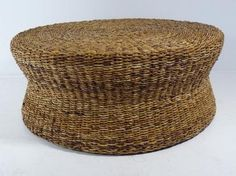 Wollen Round Coffee Table Hourglass Shape Made Of Woven Seagrass Round Seagrass Coffee Table Round Woven Coffee Table Pottery Barn (Image 10 of 10)