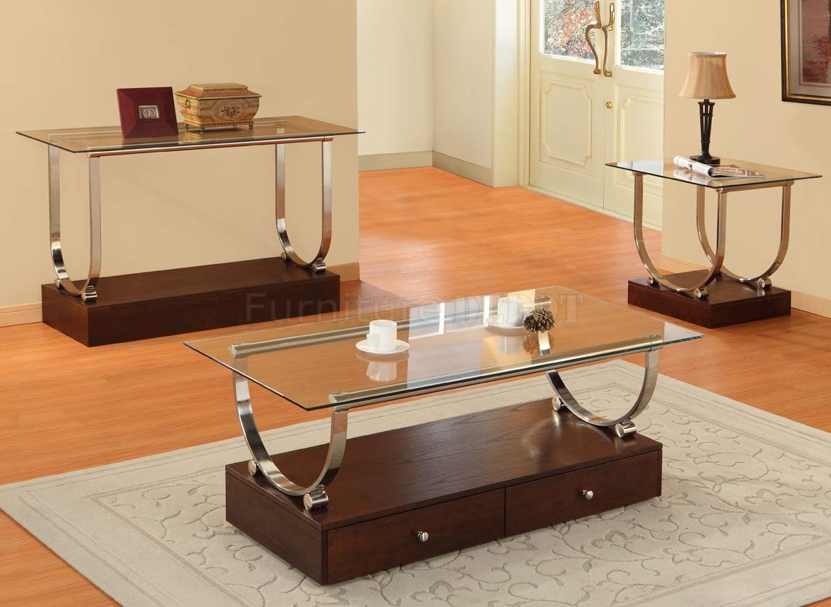 Wood Glass Coffee Tables Interesting Aura Rectangle Tempered Glass Coffee Table With Brown Walnut And Metal Chromed (View 5 of 10)