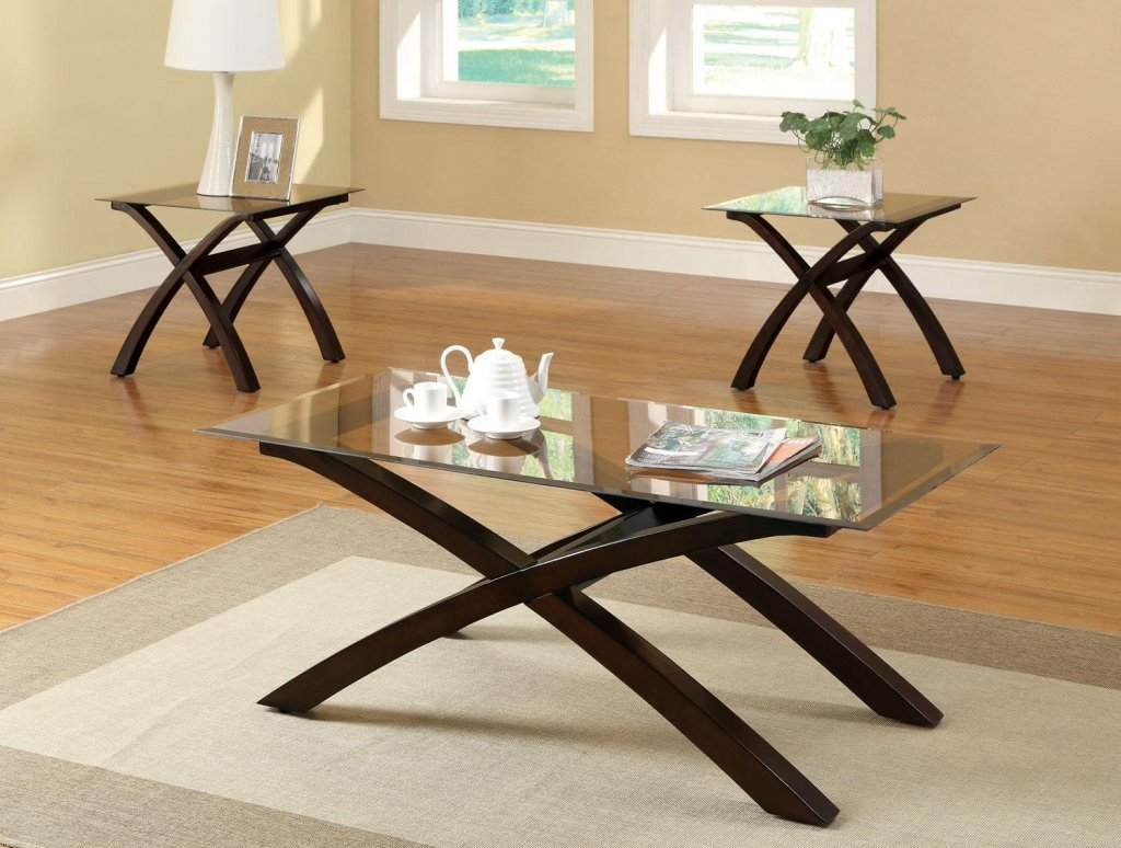 Superieur Wood Glass Coffee Tables Modern Elegant Different Size Tempered Glass  Coffee Tables With Brown Shaped Wood