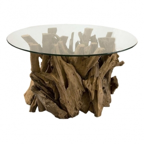 Wood Round Coffee Table Naturally Shaped Teak Wood Base And Round Glass Top Round Glass Top Coffee Table With Wood Base (Image 10 of 10)