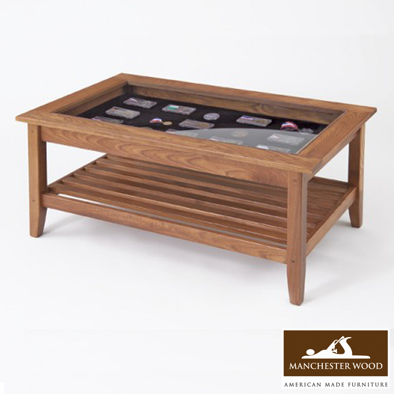 Wood With Glass Top Coffee Table Amish Lancaster Glass Top Coffee Table Amish Furniture Furniture Co (Image 3 of 10)