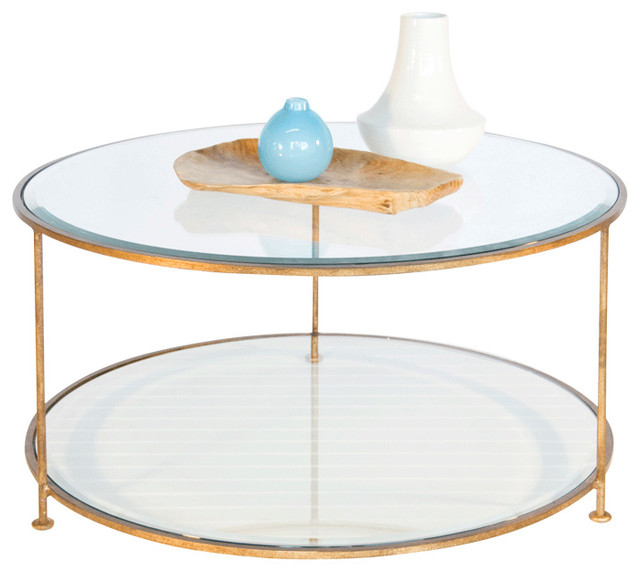 Worlds Away Gold Leaf Iron Round Coffee Table With Beveled Glass Top Traditional Round Metal Coffee Table With Glass Top (Image 9 of 10)