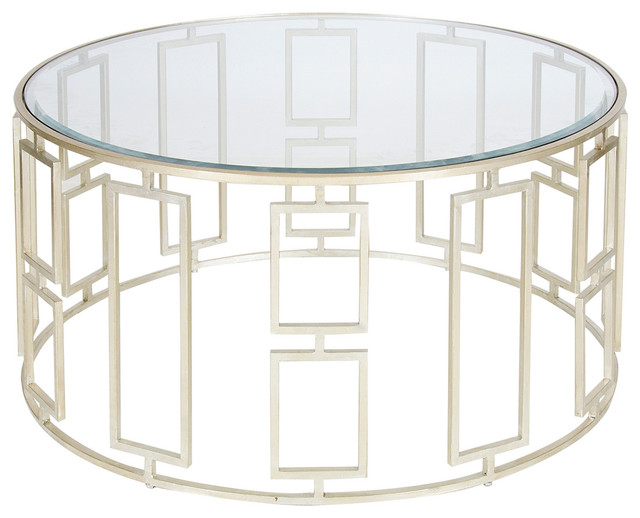 Worlds Away Jenny Silver Leafed Coffee Table Living Room Round Glass Coffee Table Metal Base Shop Glass Top Coffee Table Products (View 10 of 10)
