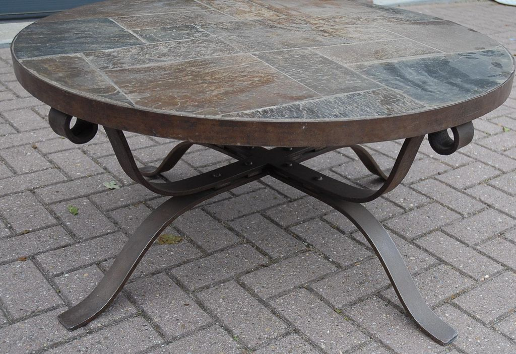 Wrought Iron Coffee Table With Stone Wrought Iron Round Stone Top Coffee Table Coffee Table With Stone Top (Image 10 of 10)